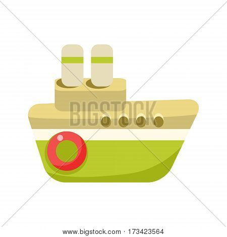 Toy Green Steamer Boat With Two Chimneys, Object From Baby Room, Happy Childhood Cute Illustration. Part Of Happy Childhood And Infancy Isolated Cartoon Items Series.