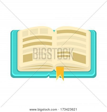 Hard Cover Open Book With Bookmark, Object From Baby Room, Happy Childhood Cute Illustration. Part Of Happy Childhood And Infancy Isolated Cartoon Items Series.