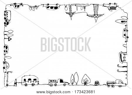 Decorative frame with cars, busses, lorries and industrial units. City concept. Doodle illustration