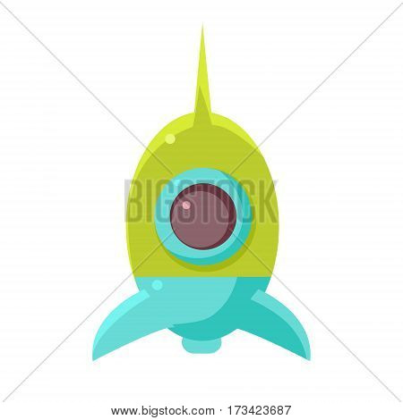 Green And Blue Toy Rocket Space Ship, Object From Baby Room, Happy Childhood Cute Illustration. Part Of Happy Childhood And Infancy Isolated Cartoon Items Series.