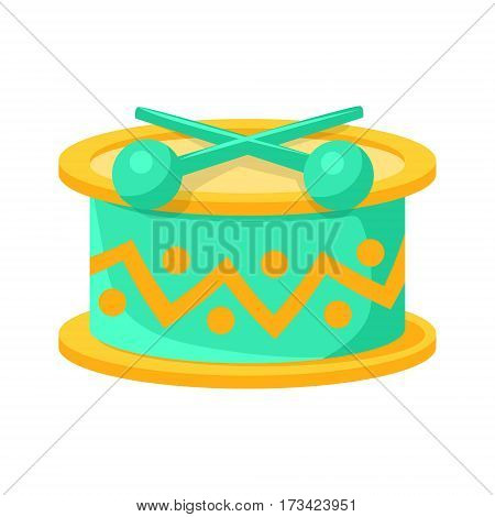 Toy Drum With Drumsticks Musical Instrument, Object From Baby Room, Happy Childhood Cute Illustration. Part Of Happy Childhood And Infancy Isolated Cartoon Items Series.