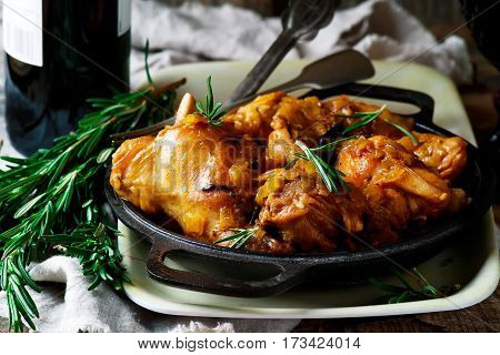 Braised rabbit with rosemary .style rustic.selective focus