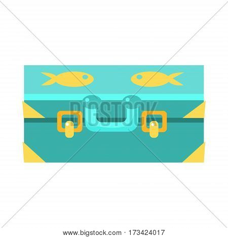 Blue Suitcase For Luggage With Fishes, Object From Baby Room, Happy Childhood Cute Illustration. Part Of Happy Childhood And Infancy Isolated Cartoon Items Series.