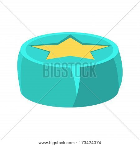 Round Beanbag Chair In Blue Color With Yellow Star, Object From Baby Room, Happy Childhood Cute Illustration. Part Of Happy Childhood And Infancy Isolated Cartoon Items Series.