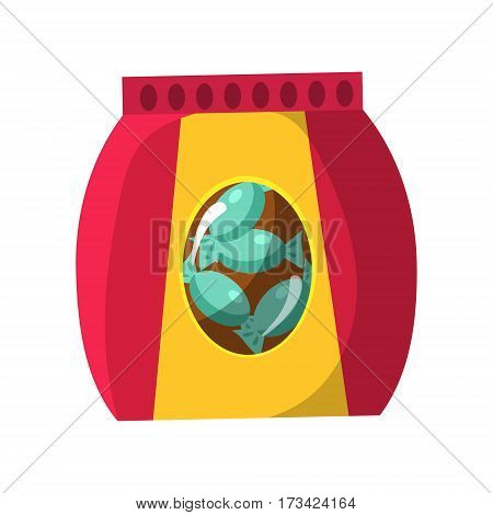 Bag With Candy Snack, Cinema And Movie Theatre Related Object Cartoon Colorful Vector Illustration. Isolated Object Cinematography Entertainment Attribute In Bright Color.