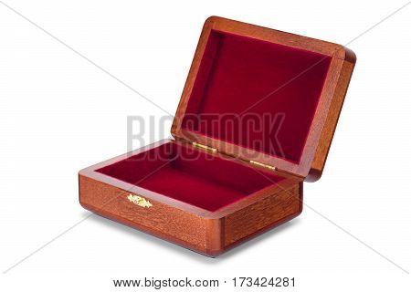 Open wooden varnished boxes isolated on pure white background with clipped path