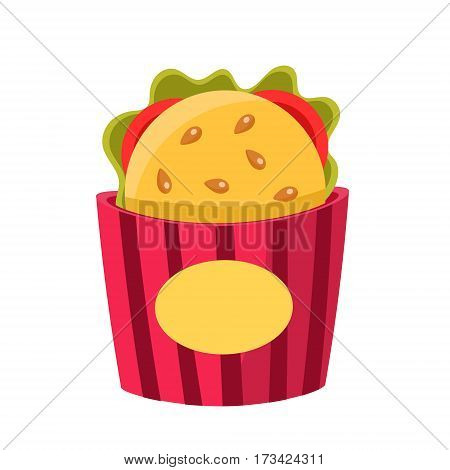 Sandwich In Paper Holder, Cinema And Movie Theatre Related Object Cartoon Colorful Vector Illustration. Isolated Object Cinematography Entertainment Attribute In Bright Color.