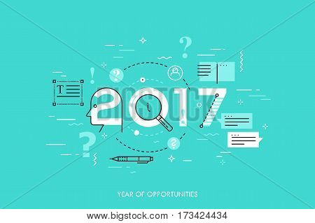 Infographic concept 2017 year of opportunities. New trends and prospects in Copywriting, text editing applications and technologies, information search. Vector illustration in thin line style.