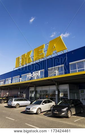 Prague, Czech Republic - February 25: Ikea Furniture Company Logo On Building Exterior On February 2