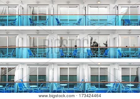 Abstract view of cabins of a modern cruise ship