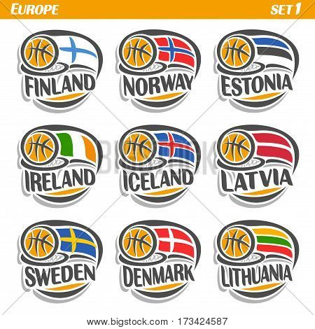 Vector set Flags of European Countries with Basketball Ball: Logo national basketball Teams, Sport group countries of Europe, icons european flag fiba team with orange ball, logo sport flags of europe
