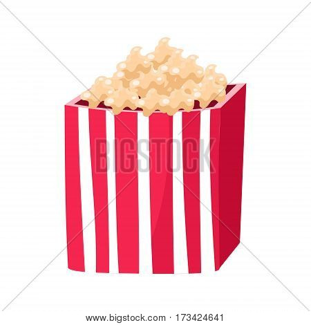 Stripy Paper Bucket With Popcorn Snack, Cinema And Movie Theatre Related Object Cartoon Colorful Vector Illustration. Isolated Object Cinematography Entertainment Attribute In Bright Color.