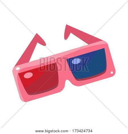 Special 3D Glsses With Blue And Red Glass, Cinema And Movie Theatre Related Object Cartoon Colorful Vector Illustration. Isolated Object Cinematography Entertainment Attribute In Bright Color.