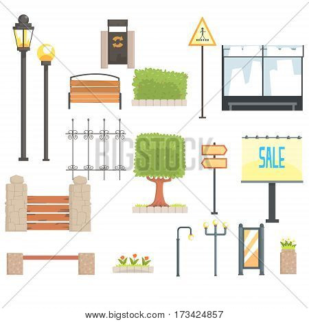Cityscape Constructor Elements Set In Cute Cartoon Geometric Design, Town Landscape Design Templates. Isolated Objects For City Outdoors Collection Of Vector Clipart Icons.