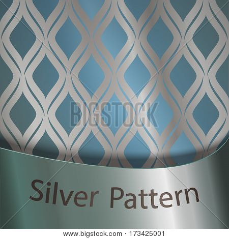 Silver gradient on silk ornament. Blue background. Silver ribbon with the inscription. A recurring element of the decor