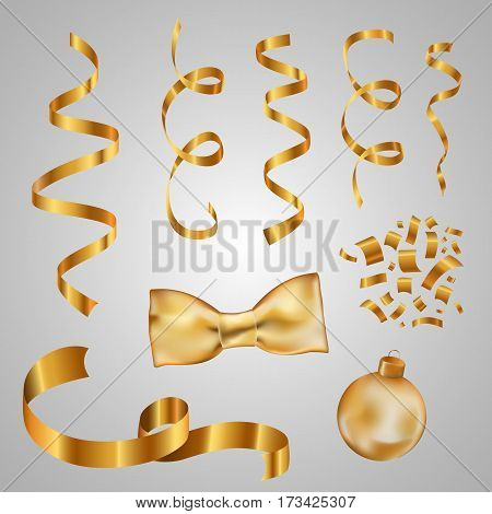 Collection of vector gold ribbons golden confetti golden Christmas ball and golden bow. Design element.