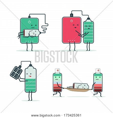 set of isolated icons of cartoon batteries and poverbank. Charging the battery. First aid. Low battery status. Charge battery from solar battery