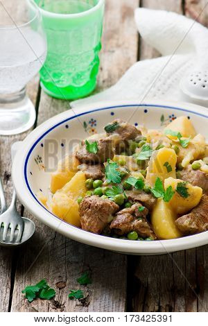 Beef and Potato Fricassee. style rustic.selective focus