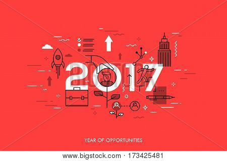 Infographic concept, 2017 - year of opportunities. New trends and prospects in career building, job searching, headhunting, recruitment or employment services. Vector illustration in thin line style.