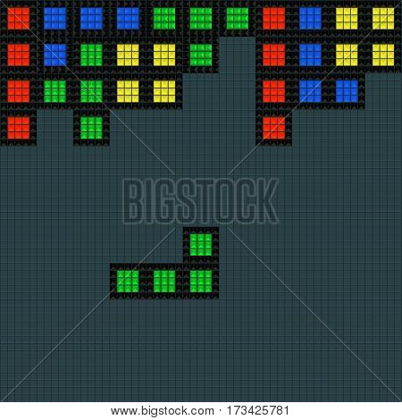 Old video game square template. Bricks game pieces background. Vector illustration.