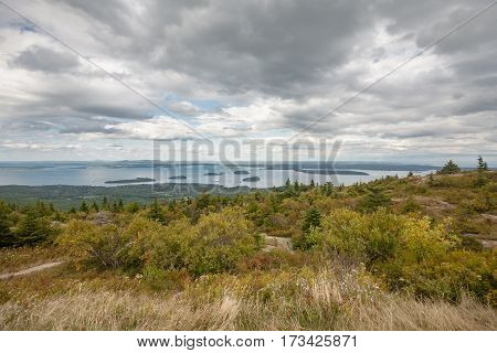 Looking towards Bar Harbor from the top of Cadillac Mountain in Acadia National Park.