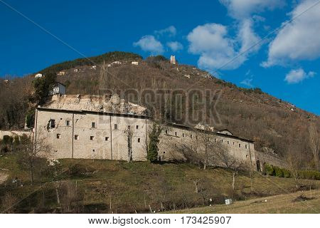 The famous abbey of Sant'Eutizio destroyed by earthquake of Norcia