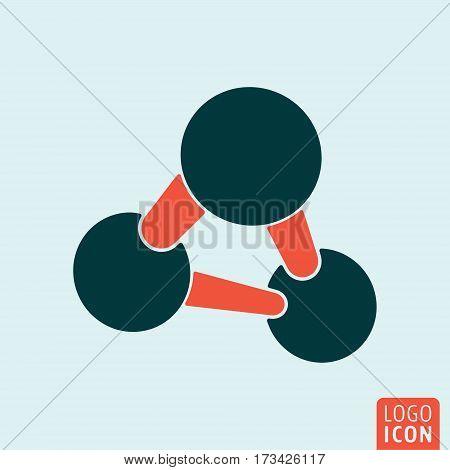 Molecule icon isolated. Atom or ion symbol. Vector illustration.