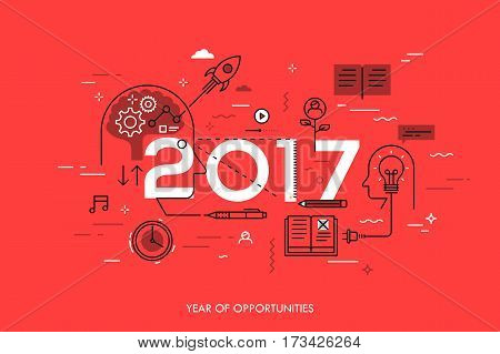 Infographic concept, 2017 - year of opportunities. New trends in idea generation, time management, experience exchange, self-education and self-development. Vector illustration in thin line style.