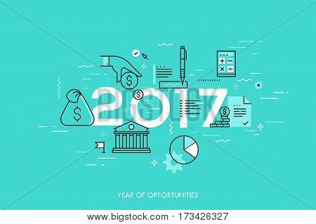 Infographic concept, 2017 - year of opportunities. New hot trends and predictions in economics, budget planning, money saving, tax and credit debt paying off. Vector illustration in thin line style.