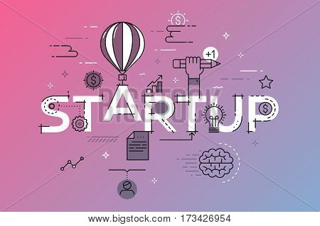 Modern vector illustration concept of word startup. Thin line flat design banner for website and mobile application, easy to use and highly customizable.