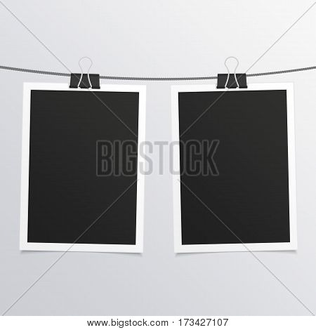 Collection of blank photo frames on rope in realistic style. Set of vintage photos frame for your picture. Retro framework isolated on gray background. Vector illustration. EPS 10.