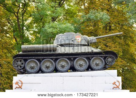 October 20, 2016 - Kamianets-Podilskyi, Ukraine: Tank t-34 on the pedestal. Soviet tank from the second war. Park memorial to Second World War.