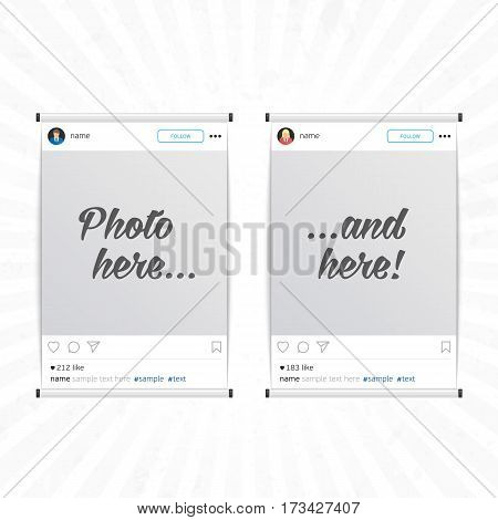 Set of social network photo frame isolated on light background. Modern design frame for Photo with shadow. Decorative template framework. Insert your picture. Vector