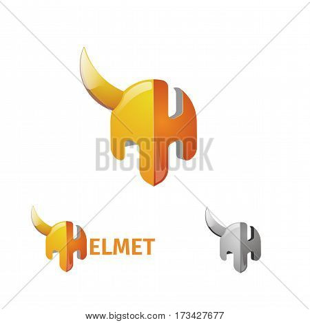 Half Helmet And Letter H. The Logo Of The Armor Of A Warrior