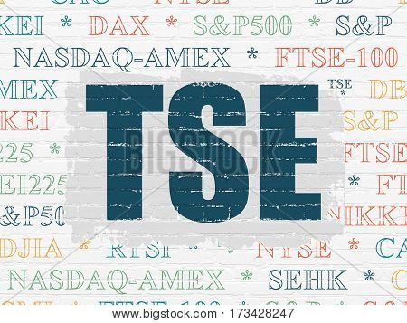 Stock market indexes concept: Painted blue text TSE on White Brick wall background with  Tag Cloud