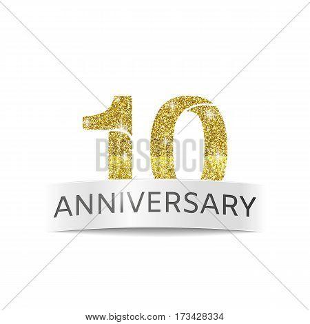 Tenth birthday anniversary banner vector illustration. 10 years jubilee number logo.