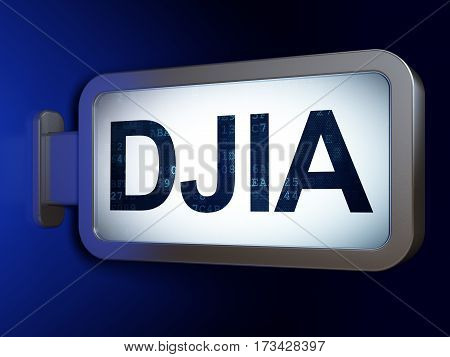 Stock market indexes concept: DJIA on advertising billboard background, 3D rendering