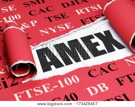 Stock market indexes concept: black text AMEX under the curled piece of Red torn paper with  Tag Cloud, 3D rendering