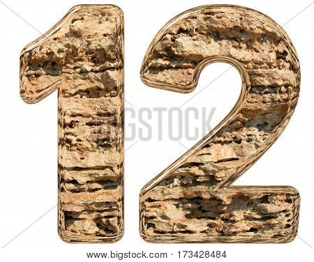 Numeral 12, Twelve, Isolated On White, Natural Limestone, 3D Illustration