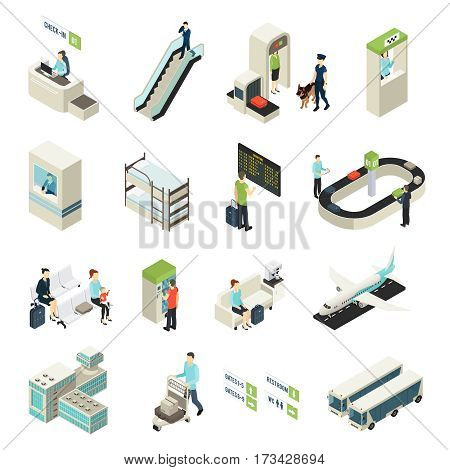 Isometric airport elements set with passengers staff building vehicles interior objects main zones and halls isolated vector illustration