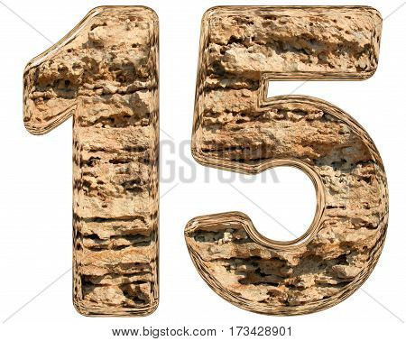 Numeral 15, Fifteen, Isolated On White, Natural Limestone, 3D Illustration