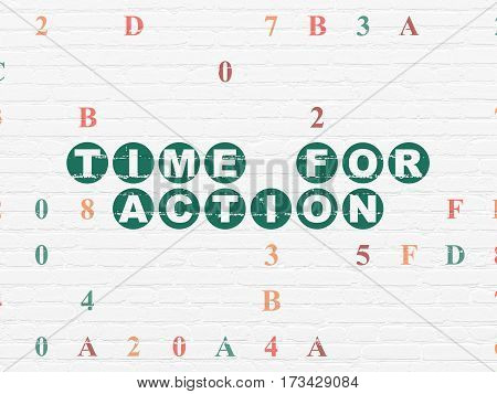 Timeline concept: Painted green text Time for Action on White Brick wall background with Hexadecimal Code