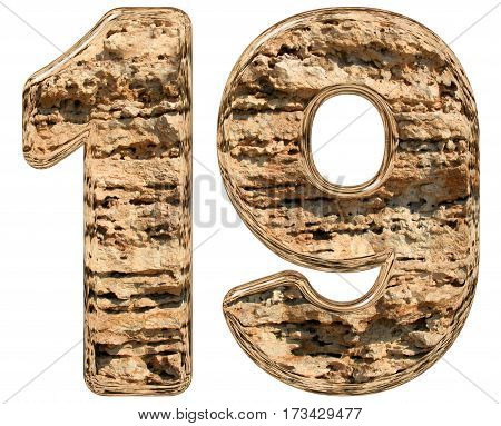 Numeral 19, Nineteen, Isolated On White, Natural Limestone, 3D Illustration