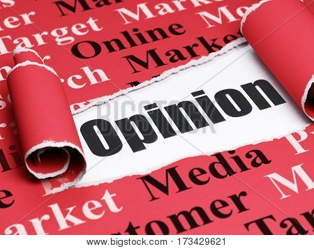 Marketing concept: black text Opinion under the curled piece of Red torn paper with  Tag Cloud, 3D rendering