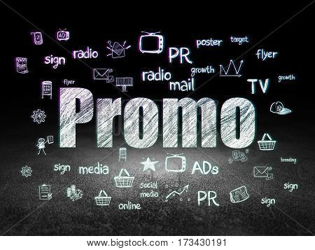 Marketing concept: Glowing text Promo,  Hand Drawn Marketing Icons in grunge dark room with Dirty Floor, black background