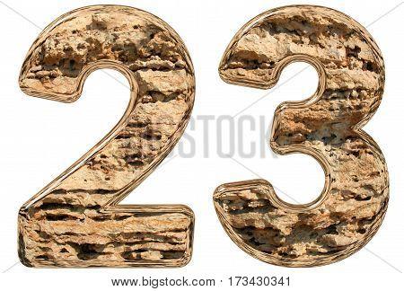 Numeral 23, Twenty Three, Isolated On White, Natural Limestone, 3D Illustration