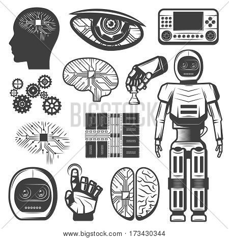 Vintage artificial intelligence icons set with robotic cybernetic elements body parts cyborg and microchip isolated vector illustration
