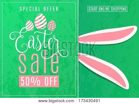 Vector illustration of cute fun easter sale banner with easter bunny ears, striped line eggs, hand drawing lettering text sign on grunge green background. Special offer for spring holiday