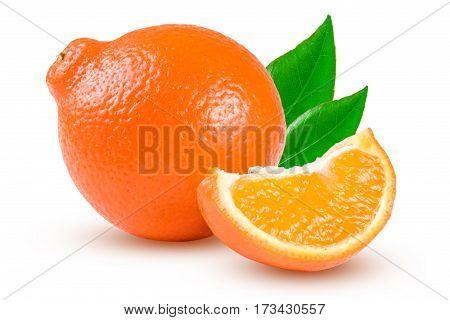 orange tangerine or Mineola with a slice and leaf isolated on white background.