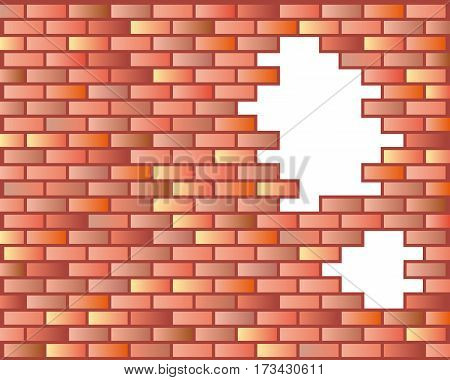 Red brick wall seamless illustration background - texture pattern for continuous replicate.